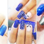 unhas decoradas azul