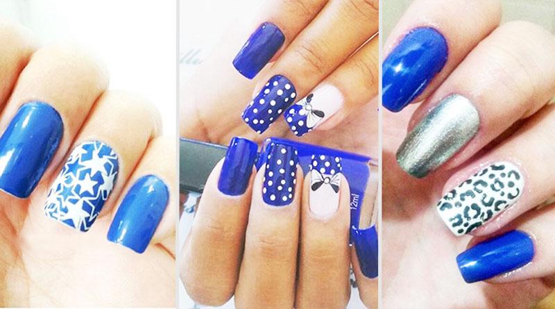 Unhas decoradas azuis colorido